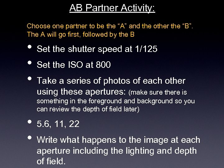 """AB Partner Activity: Choose one partner to be the """"A"""" and the other the"""