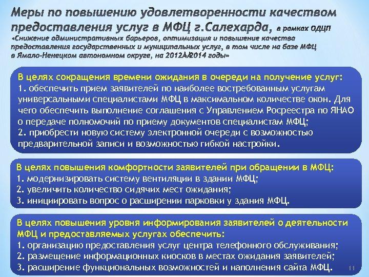 Меры по повышению удовлетворенности качеством предоставления услуг в МФЦ г. Салехарда, в рамках ОДЦП