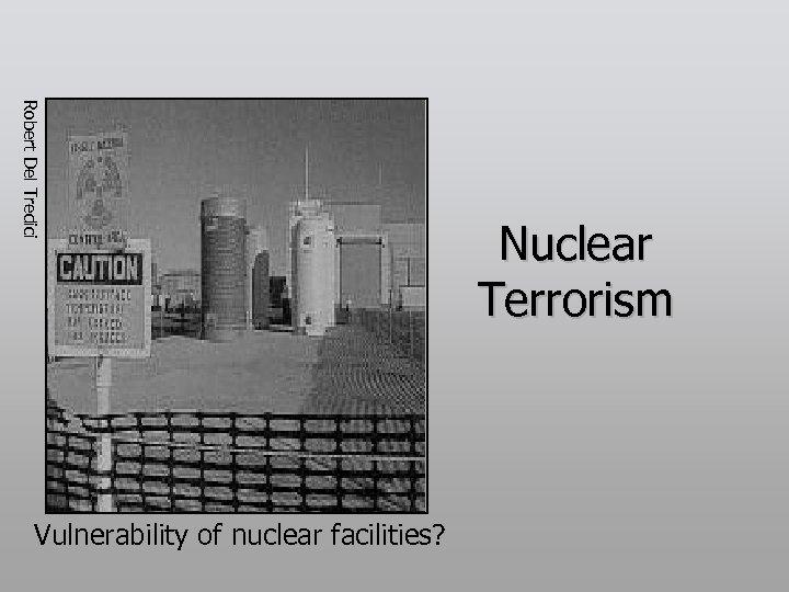 Robert Del Tredici Vulnerability of nuclear facilities? Nuclear Terrorism