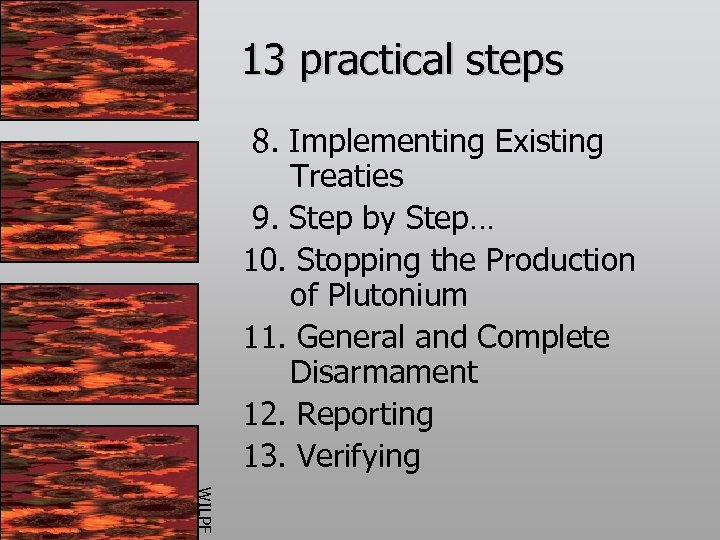 13 practical steps 8. Implementing Existing Treaties 9. Step by Step… 10. Stopping the