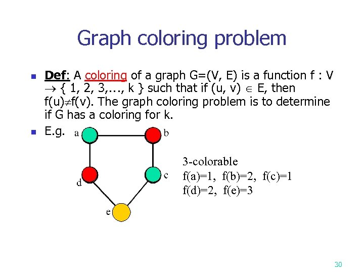 Graph coloring problem n n Def: A coloring of a graph G=(V, E) is