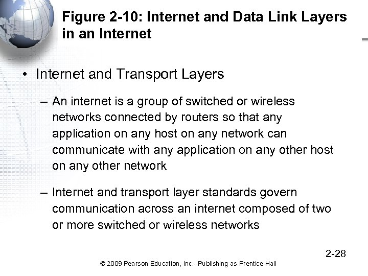 Figure 2 -10: Internet and Data Link Layers in an Internet • Internet and