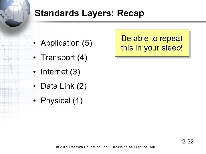 Standards Layers: Recap • Application (5) Be able to repeat this in your sleep!