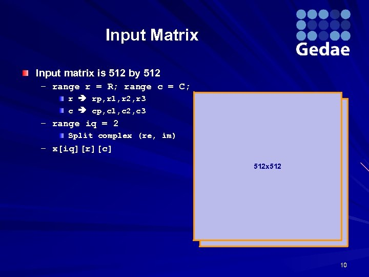 Input Matrix Input matrix is 512 by 512 – range r = R; range