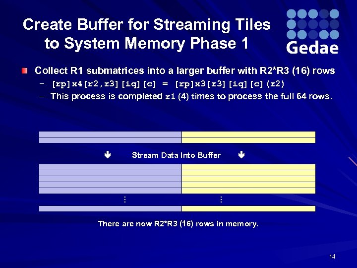 Create Buffer for Streaming Tiles to System Memory Phase 1 Collect R 1 submatrices