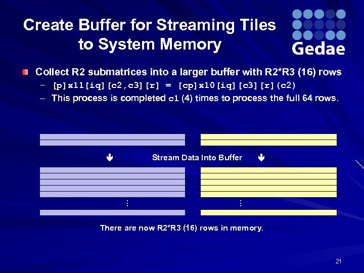 Create Buffer for Streaming Tiles to System Memory Collect R 2 submatrices into a
