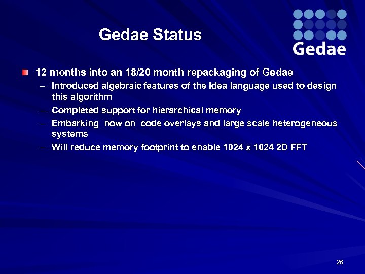 Gedae Status 12 months into an 18/20 month repackaging of Gedae – Introduced algebraic