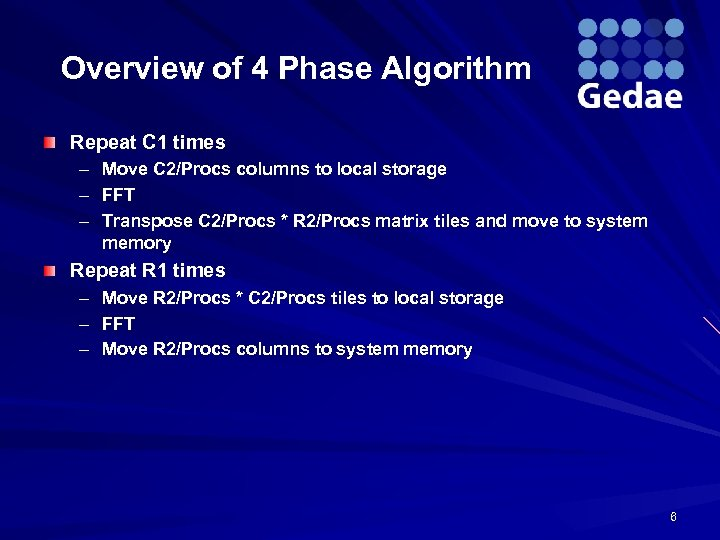 Overview of 4 Phase Algorithm Repeat C 1 times – – – Move C