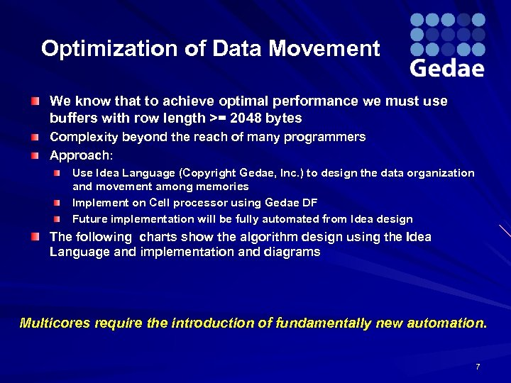 Optimization of Data Movement We know that to achieve optimal performance we must use