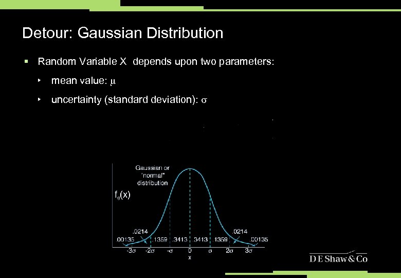 Detour: Gaussian Distribution § Random Variable X depends upon two parameters: ‣ mean value: