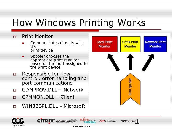 How Windows Printing Works o Print Monitor n n Communicates directly with the print
