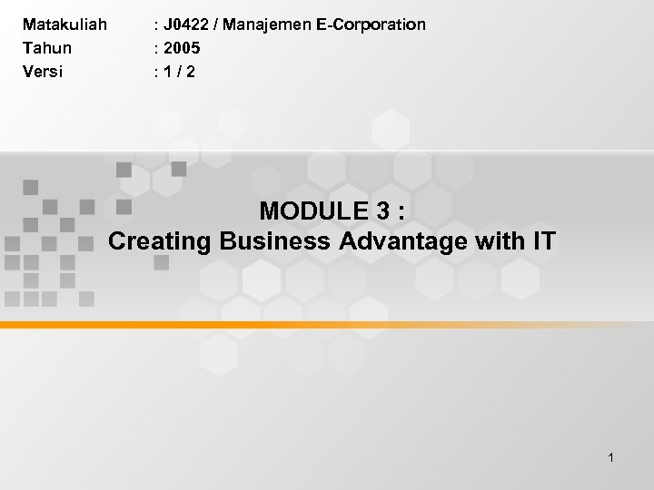 Matakuliah Tahun Versi : J 0422 / Manajemen E-Corporation : 2005 : 1/2 MODULE
