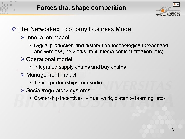 Forces that shape competition v The Networked Economy Business Model Ø Innovation model •