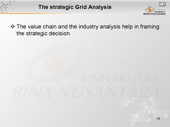 The strategic Grid Analysis v The value chain and the industry analysis help in