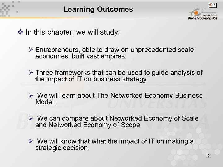 Learning Outcomes v In this chapter, we will study: Ø Entrepreneurs, able to draw