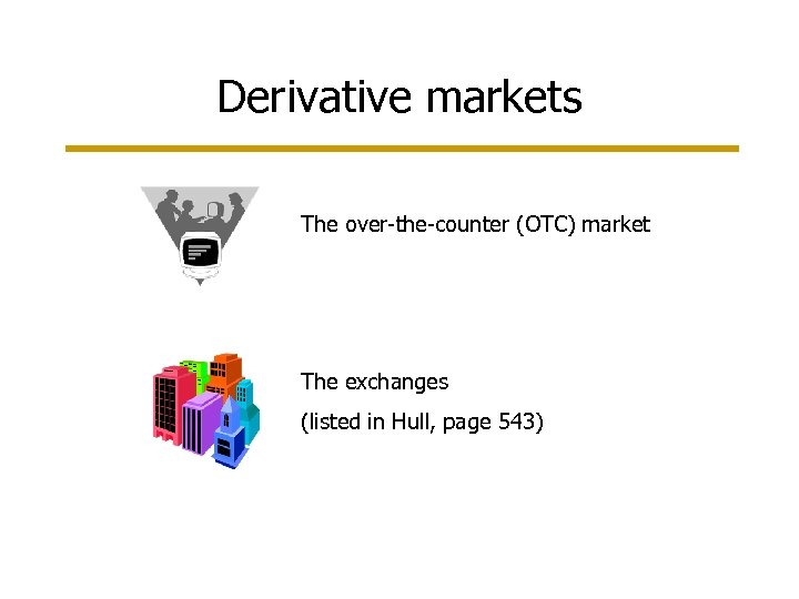 Derivative markets The over-the-counter (OTC) market The exchanges (listed in Hull, page 543)