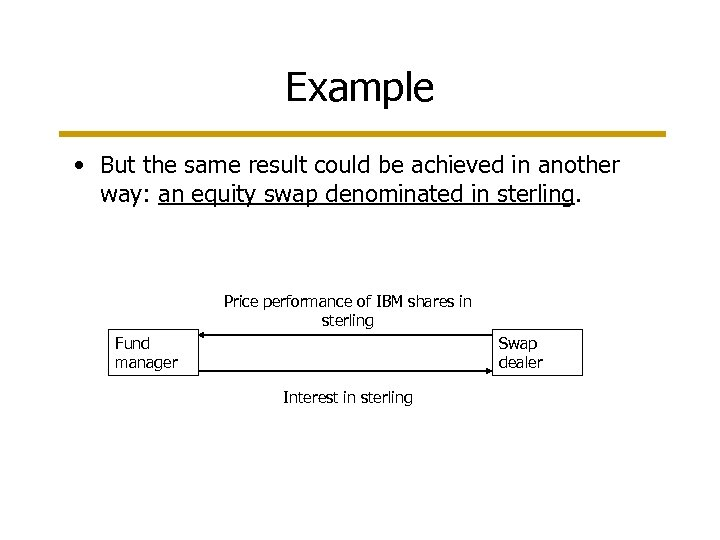 Example • But the same result could be achieved in another way: an equity
