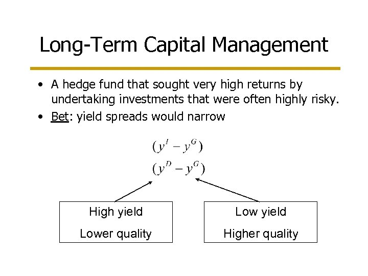 Long-Term Capital Management • A hedge fund that sought very high returns by undertaking