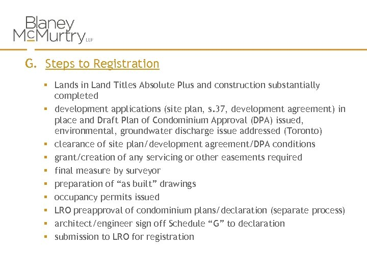 G. Steps to Registration § Lands in Land Titles Absolute Plus and construction substantially