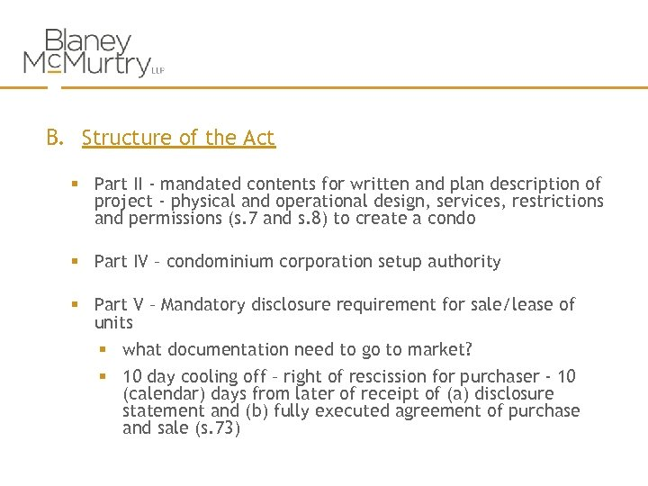 B. Structure of the Act § Part II - mandated contents for written and