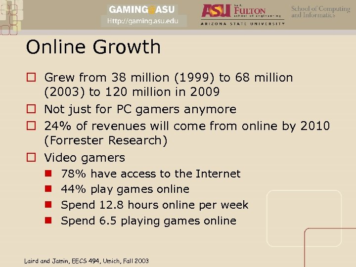 Online Growth o Grew from 38 million (1999) to 68 million (2003) to 120
