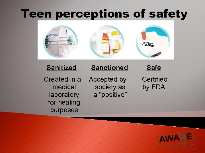 Teen perceptions of safety Sanitized Sanctioned Safe Created in a medical laboratory for healing