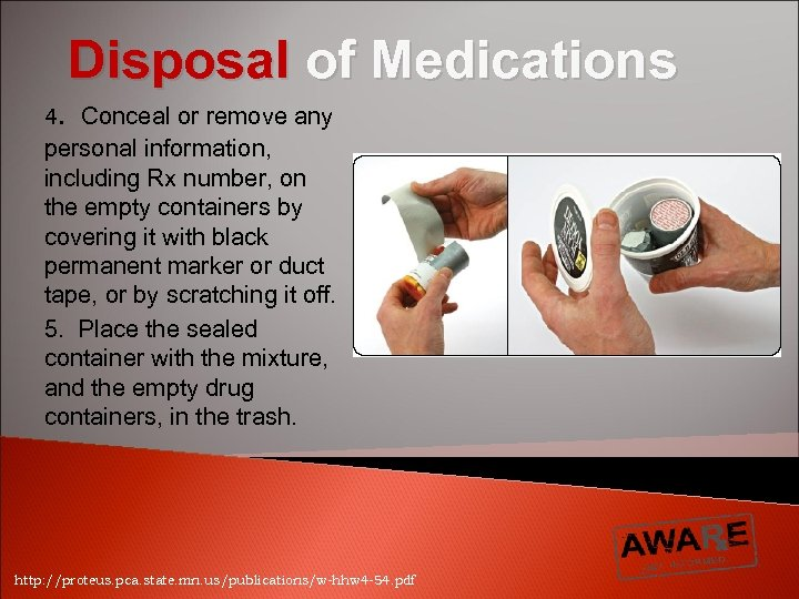 Disposal of Medications 4. Conceal or remove any personal information, including Rx number, on
