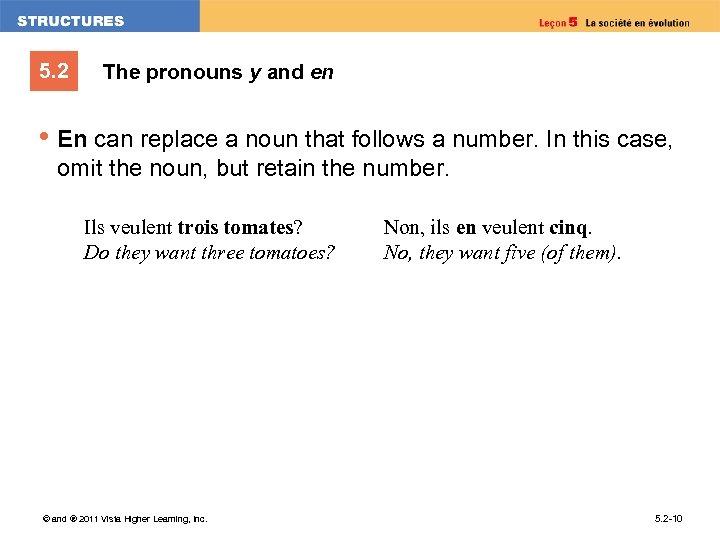 5. 2 The pronouns y and en • En can replace a noun that