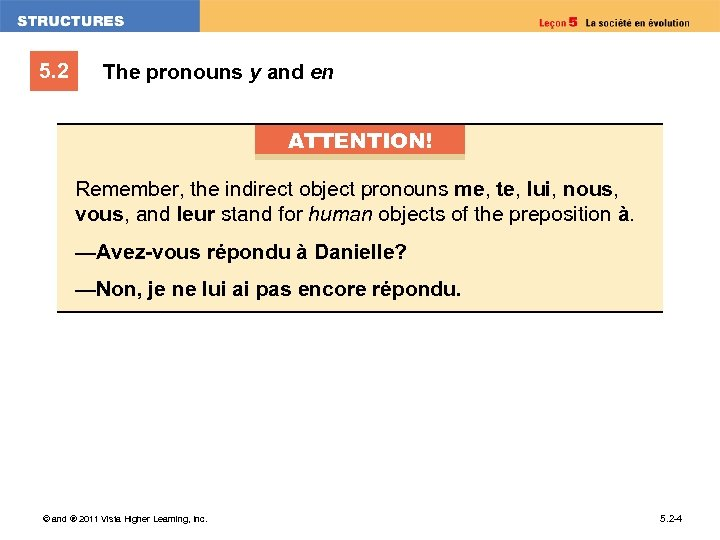5. 2 The pronouns y and en ATTENTION! Remember, the indirect object pronouns me,