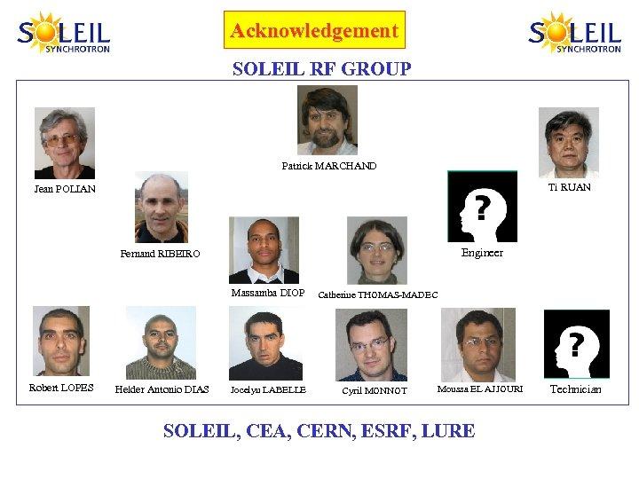 Acknowledgement SOLEIL RF GROUP Patrick MARCHAND Ti RUAN Jean POLIAN Engineer Fernand RIBEIRO Massamba