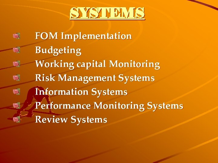 SYSTEMS FOM Implementation Budgeting Working capital Monitoring Risk Management Systems Information Systems Performance Monitoring