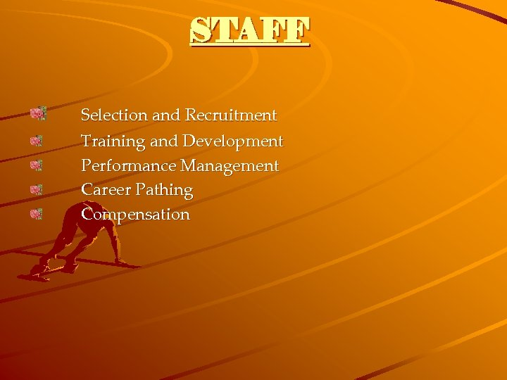 STAFF Selection and Recruitment Training and Development Performance Management Career Pathing Compensation