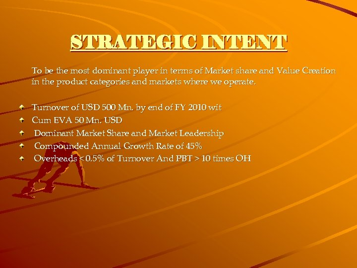 STRATEGIC INTENT To be the most dominant player in terms of Market share and