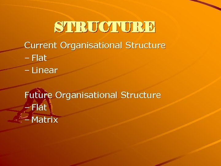 STRUCTURE Current Organisational Structure – Flat – Linear Future Organisational Structure – Flat –