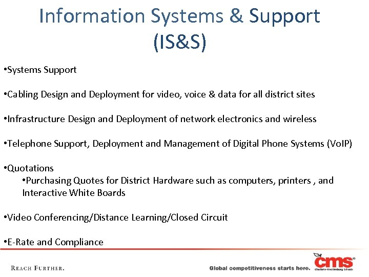 Information Systems & Support (IS&S) • Systems Support • Cabling Design and Deployment for
