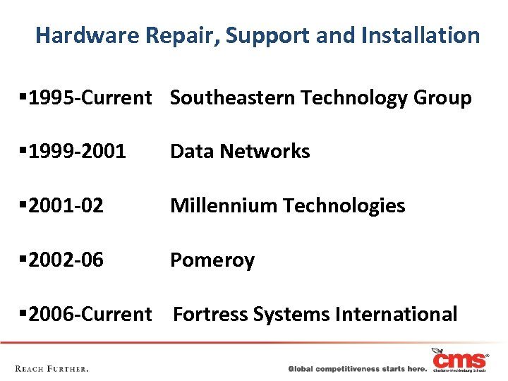 Hardware Repair, Support and Installation § 1995 -Current Southeastern Technology Group § 1999 -2001
