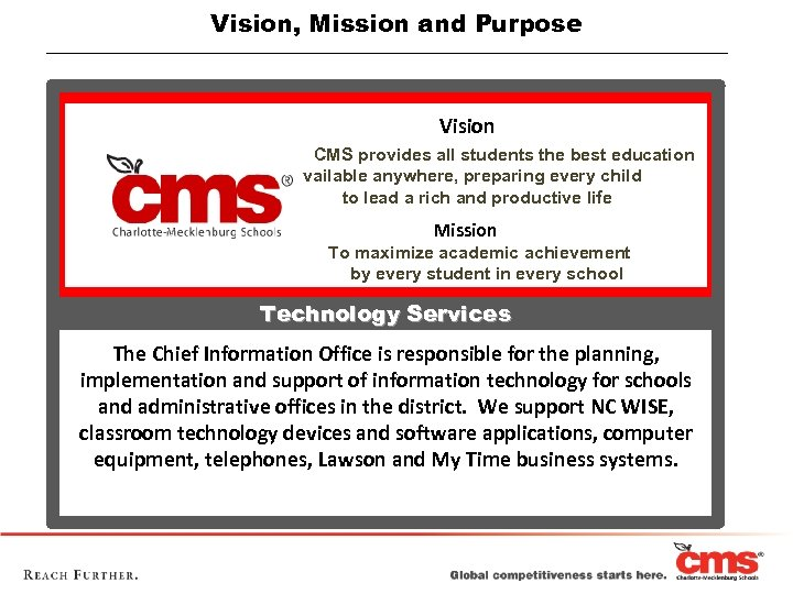 Vision, Mission and Purpose Vision CMS provides all students the best education available anywhere,