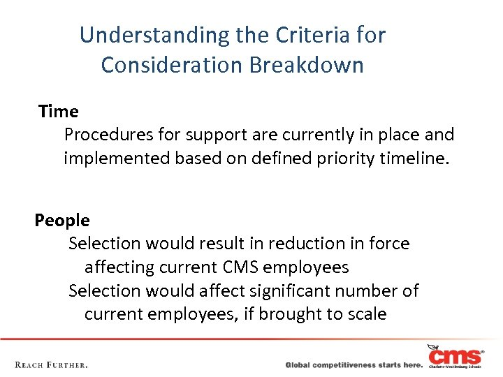 Understanding the Criteria for Consideration Breakdown Time Procedures for support are currently in place