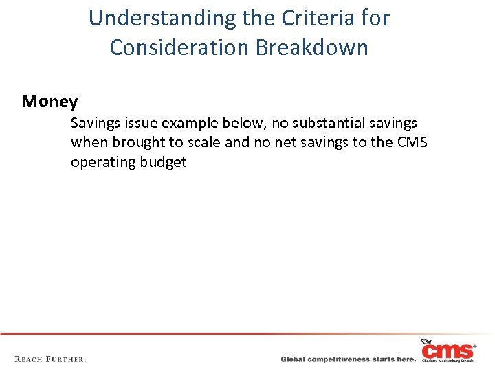 Understanding the Criteria for Consideration Breakdown Money Savings issue example below, no substantial savings