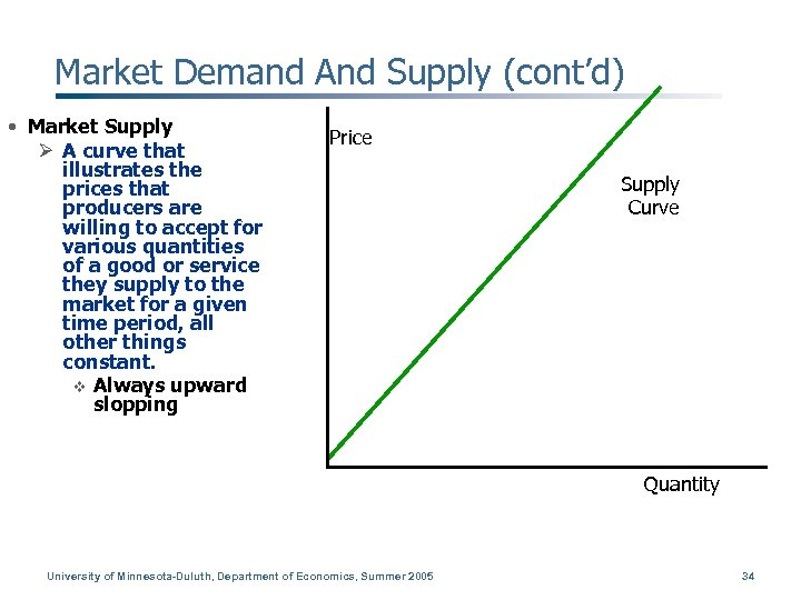Market Demand And Supply (cont'd) • Market Supply Ø A curve that illustrates the
