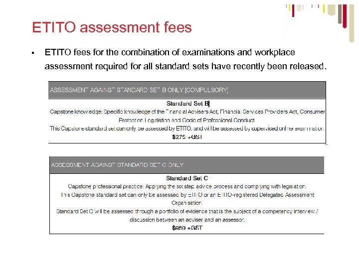 ETITO assessment fees § ETITO fees for the combination of examinations and workplace assessment