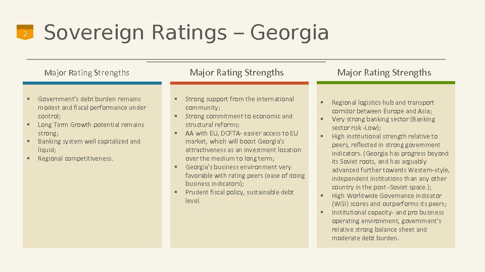 2 Sovereign Ratings – Georgia Major Rating Strengths § § Government's debt burden remains