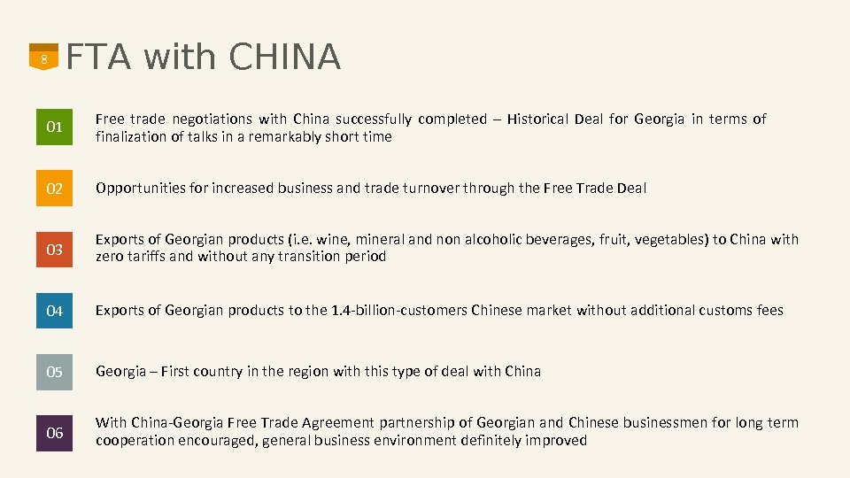 8 FTA with CHINA 01 Free trade negotiations with China successfully completed – Historical