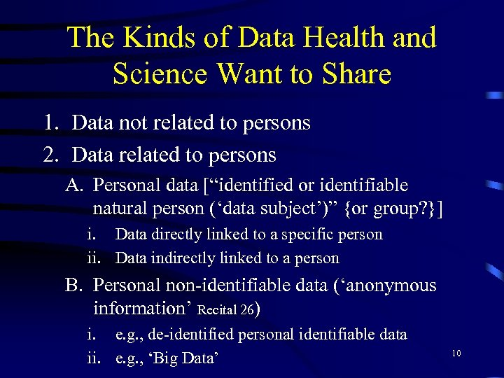 The Kinds of Data Health and Science Want to Share 1. Data not related
