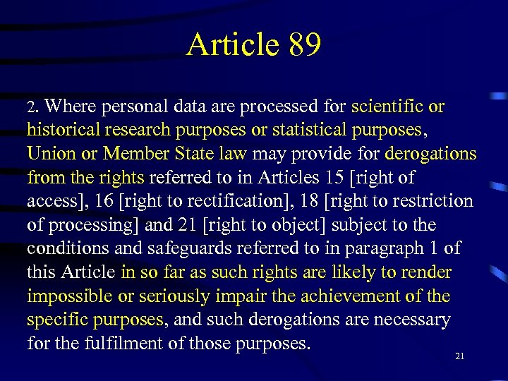 Article 89 2. Where personal data are processed for scientific or historical research purposes