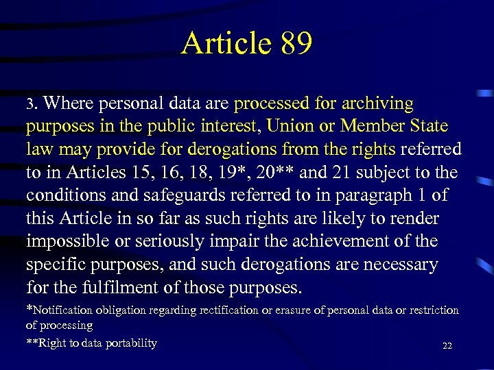 Article 89 3. Where personal data are processed for archiving purposes in the public
