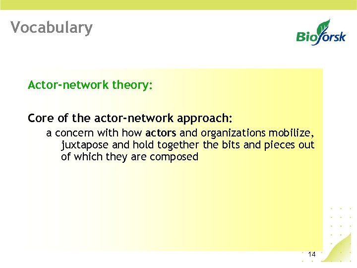 Vocabulary Actor-network theory: Core of the actor-network approach: a concern with how actors and