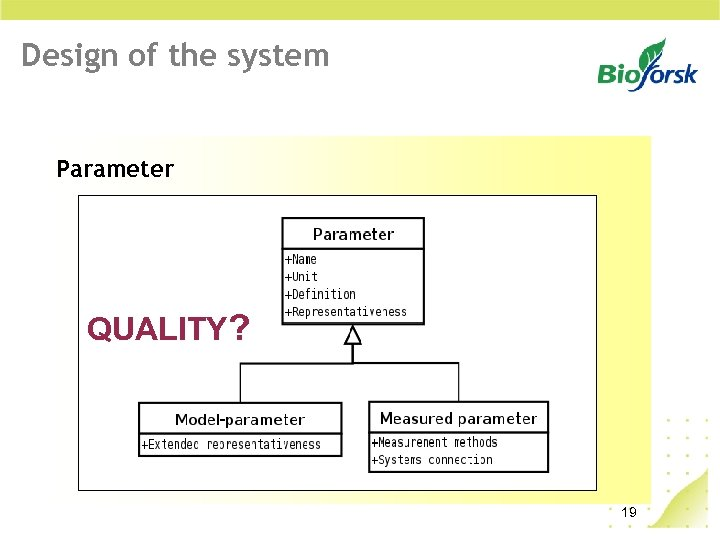 Design of the system Parameter QUALITY? 19
