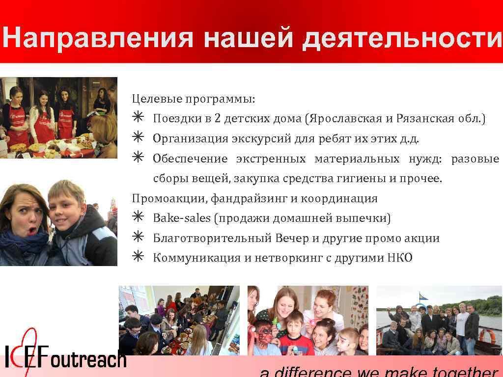 Направления нашей деятельности Целевые программы: ✴ ✴ ✴ Поездки в 2 детских дома (Ярославская