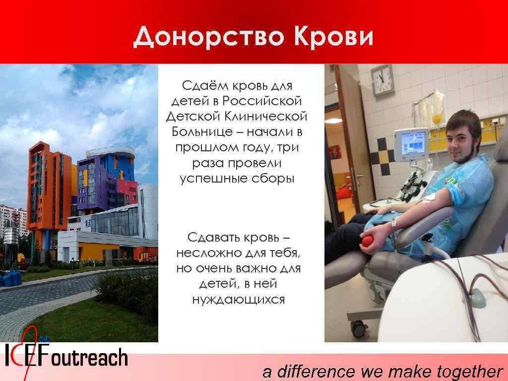 Донорство Крови Сдаём кровь для детей в Российской Детской Клинической Больнице – начали в